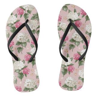 White pink Hydrangea floral seamless pattern Flip Flops