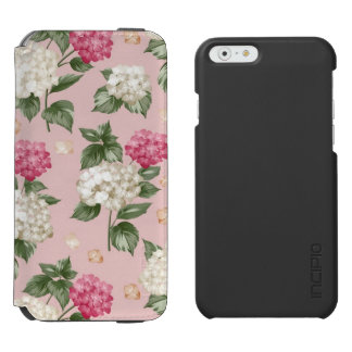 White pink Hydrangea floral seamless pattern Incipio Watson™ iPhone 6 Wallet Case