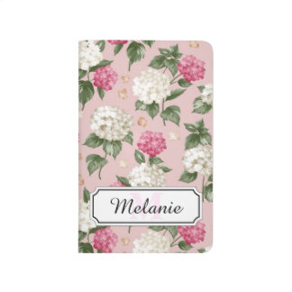 White pink Hydrangea floral seamless pattern Journal