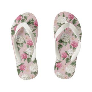 White pink Hydrangea floral seamless pattern Kid's Flip Flops