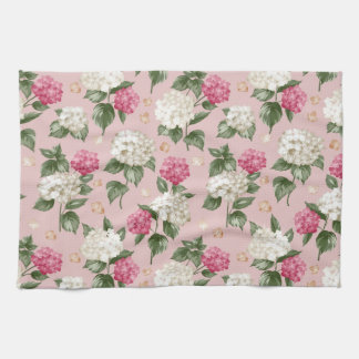 White pink Hydrangea floral seamless pattern Kitchen Towel