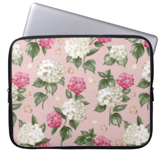 White pink Hydrangea floral seamless pattern Laptop Sleeve