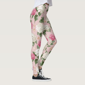 White pink Hydrangea floral seamless pattern Leggings