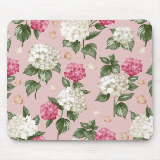 White pink Hydrangea floral seamless pattern Mouse Pad