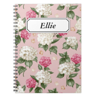 White pink Hydrangea floral seamless pattern Notebook