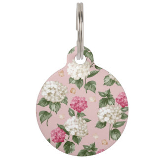 White pink Hydrangea floral seamless pattern Pet ID Tag