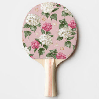 White pink Hydrangea floral seamless pattern Ping-Pong Paddle