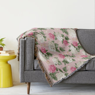 White pink Hydrangea floral seamless pattern Throw Blanket