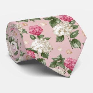 White pink Hydrangea floral seamless pattern Tie