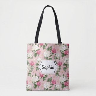 White pink Hydrangea floral seamless pattern Tote Bag