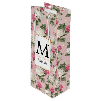 White pink Hydrangea floral seamless pattern Wine Gift Bag