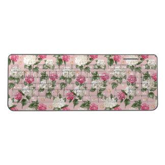 White pink Hydrangea floral seamless pattern Wireless Keyboard