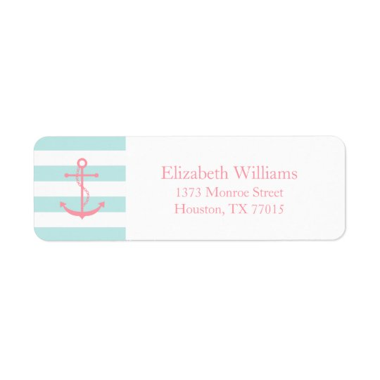 White Pink Mint Anchor and Stripes