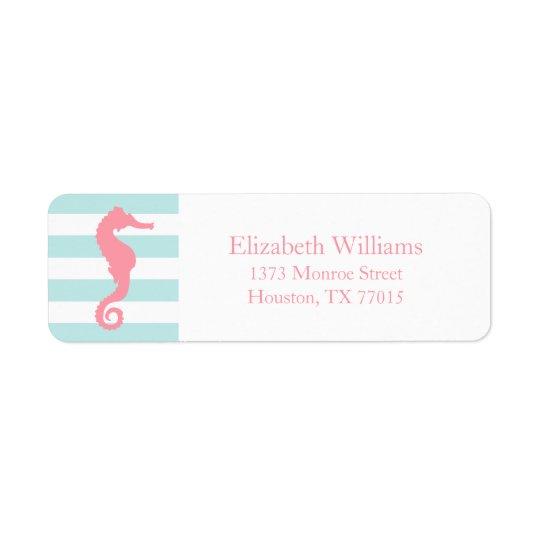White Pink Mint Stripes Seahorse Return Address Label