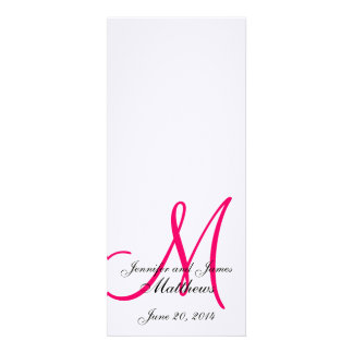 White Pink Monogram Wedding Programs on Linen Personalized Invitations