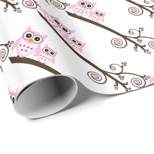 White & Pink Owl Theme Party Wrapping Paper