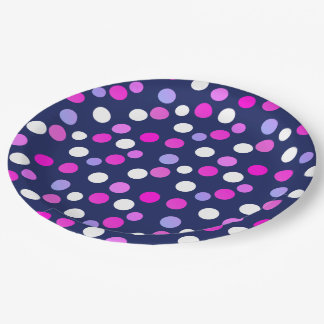 White Pink Purple Blue Circles Balls Paper Plate
