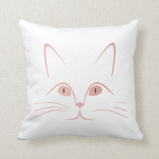 White Pink Rose Blush Cat Throw Pillow