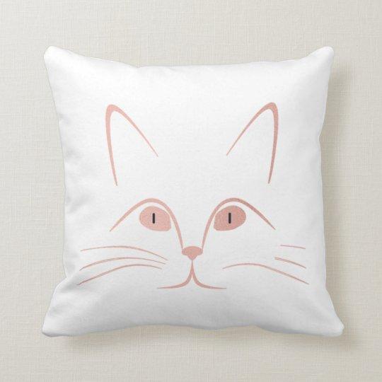 White Pink Rose Blush Cat Throw Pillow