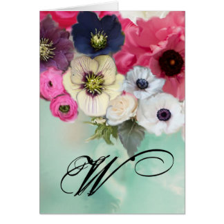 WHITE PINK ROSES AND ANEMONE FLOWERS MONOGRAM CARD