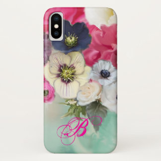 WHITE PINK ROSES AND ANEMONE FLOWERS MONOGRAM iPhone X CASE