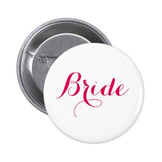 White Pink Script Wedding Bride 2 Inch Round Button