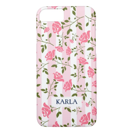 White & Pink Stripes With Stylized Roses Pattern iPhone 7 Case