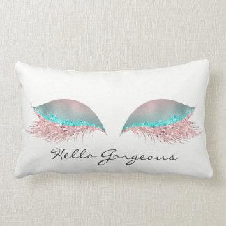 White Pink Tiffany  Makeup Lashes Hello Gorgeous Lumbar Pillow