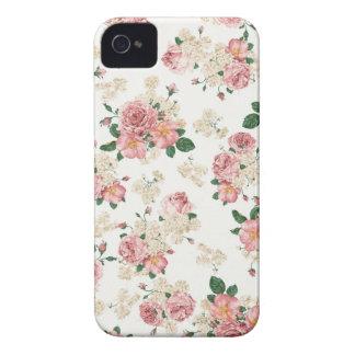 White & Pink Vintage Floral Blackberry Case