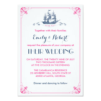 White Pink Vintage Ship Anchor Wedding Invitation