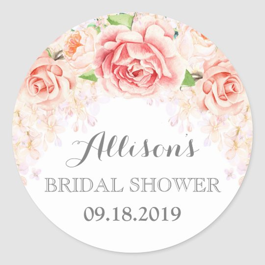 White Pink Watercolor Flowers Bridal Shower Classic Round Sticker