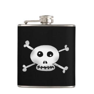 white pirate skulls cartoon hip flask