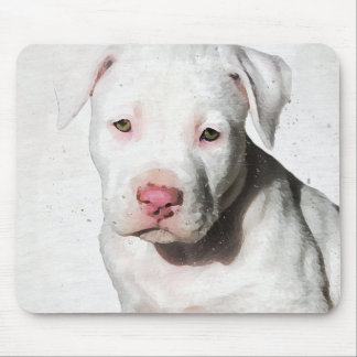 White Pit Bull Puppy Watercolor for Dog Lover Mouse Pad