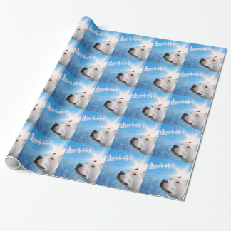 White Pit Bull Terrier Dog Waiting for Santa Claus Wrapping Paper