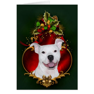 White pitbull Christmas Greeting Card