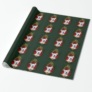 White pitbull Christmas Wrapping Paper