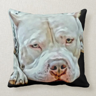 White Pitbull Dog Animal K9 Pit Bull Breed Throw Pillow