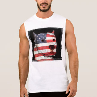 White pitbull face with American flag Sleeveless Shirt