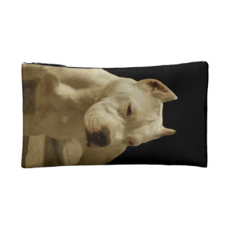 White Pitbull Makeup Bag
