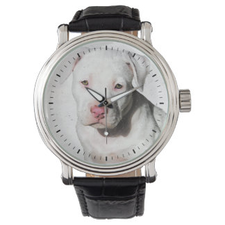 White Pitbull Puppy Watercolor Black Tick Marks Watch