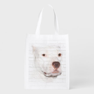 White pitbull terrier face grocery bag