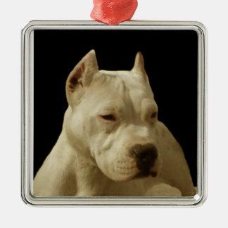 White Pitbull Terrier Metal Ornament