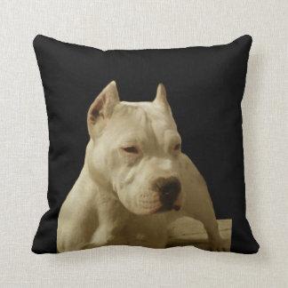 White Pitbull Terrier Throw Pillow