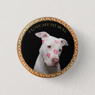 White pitbull with red kisses all over his face. 1 inch round button