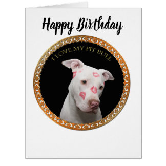 White pitbull with red kisses all over his face. card