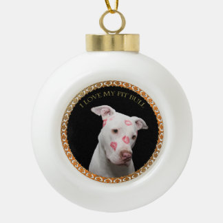 White pitbull with red kisses all over his face. ceramic ball christmas ornament