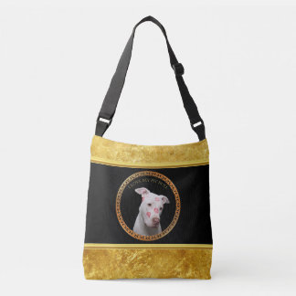 White pitbull with red kisses all over his face. crossbody bag