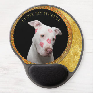White pitbull with red kisses all over his face. gel mouse pad