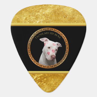 White pitbull with red kisses all over his face. guitar pick