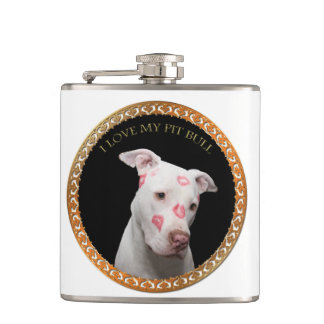 White pitbull with red kisses all over his face. hip flask